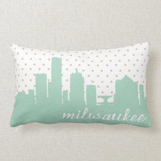 Milwaukee mint polka dot throw pillow