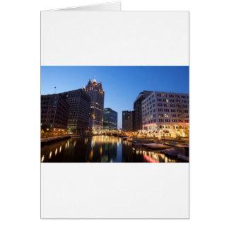 Milwaukee Night Skyline Card