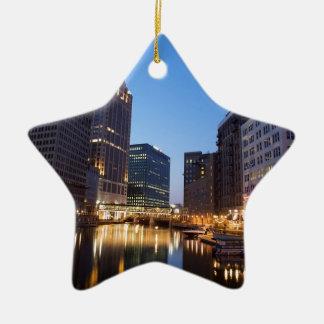 Milwaukee Night Skyline Ceramic Ornament