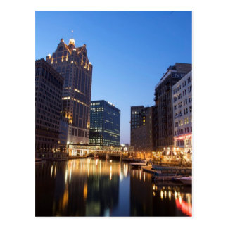 Milwaukee Night Skyline Postcard