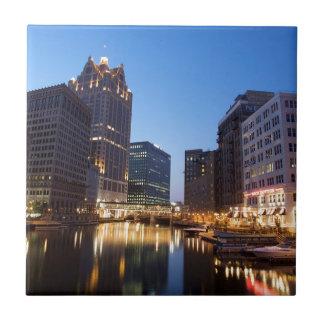 Milwaukee Night Skyline Tile