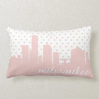 Milwaukee pink polka dot throw pillows