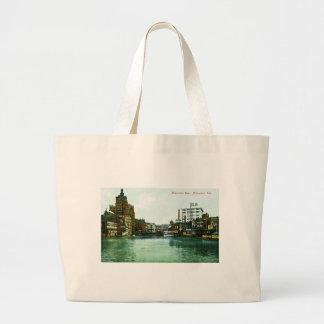 Milwaukee River, Milwaukee, Wisconsin Canvas Bags