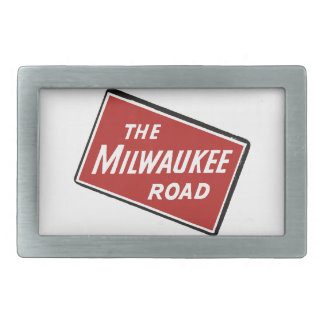 Milwaukee Road Railway Sign 2 Rectangular Belt Buckles
