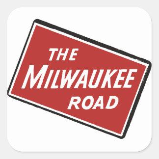 Milwaukee Road Railway Sign 2 Square Sticker