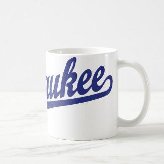 Milwaukee script logo in blue coffee mug