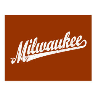 Milwaukee script logo in white distressed postcard