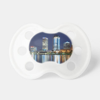 Milwaukee Skyline at Night Pacifiers