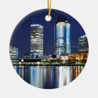 Milwaukee Skyline at Night Round Ceramic Ornament
