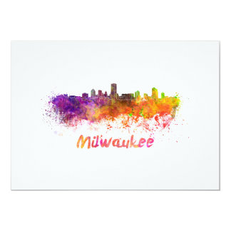 Milwaukee skyline in watercolor card