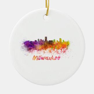 Milwaukee skyline in watercolor ceramic ornament