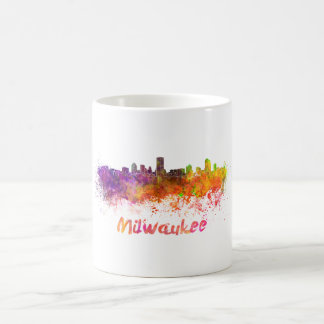 Milwaukee skyline in watercolor coffee mug