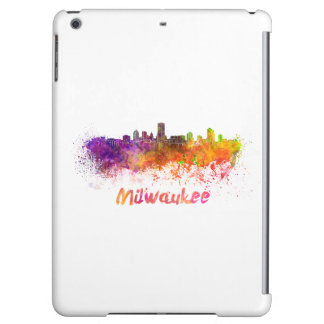 Milwaukee skyline in watercolor iPad air covers