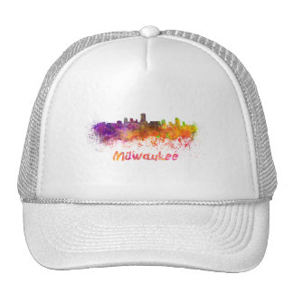 Milwaukee skyline in watercolor trucker hat