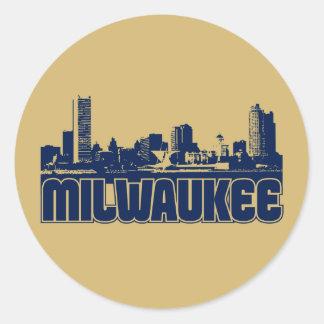 Milwaukee Skyline Round Sticker