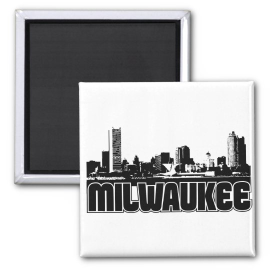 Milwaukee Skyline Square Magnet