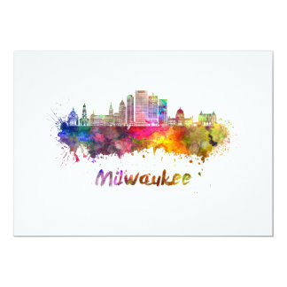 Milwaukee V2 skyline in watercolor Card