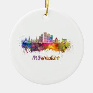 Milwaukee V2 skyline in watercolor Ceramic Ornament
