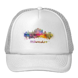 Milwaukee V2 skyline in watercolor Trucker Hat