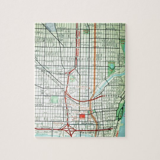 MILWAUKEE Vintage Map Jigsaw Puzzle