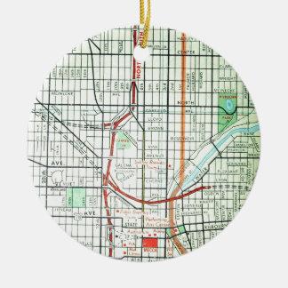MILWAUKEE Vintage Map Round Ceramic Ornament