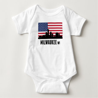 Milwaukee WI American Flag Baby Bodysuit