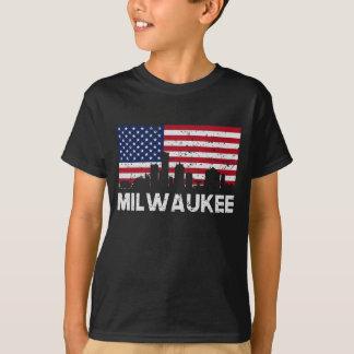 Milwaukee WI American Flag Skyline Distressed T-Shirt