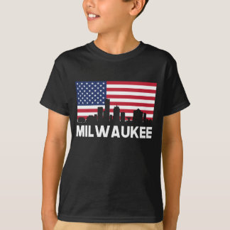 Milwaukee WI American Flag Skyline T-Shirt