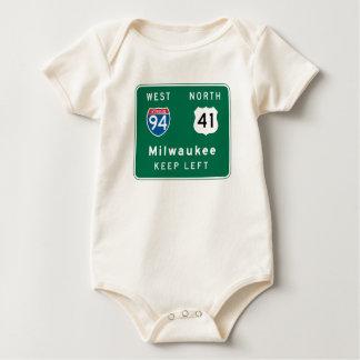Milwaukee, WI Road Sign Baby Bodysuit