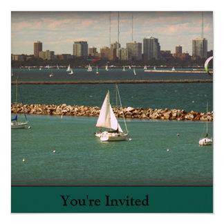 Milwaukee, WI Skyline 5.25x5.25 Square Paper Invitation Card