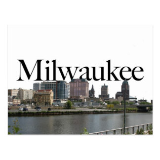 Milwaukee WI Skyline with Milwaukee in the Sky Postcard