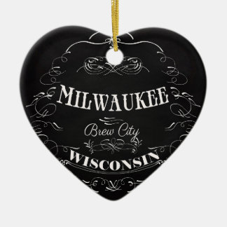 Milwaukee, Wisconsin - Brew City Double-Sided Heart Ceramic Christmas Ornament