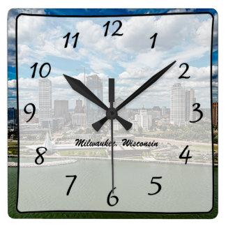 Milwaukee Wisconsin City Skyscrapers View Clock