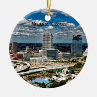 Milwaukee, Wisconsin cityscape Round Ceramic Ornament