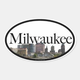 Milwaukee, Wisconsin Skyline Oval Sticker