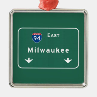 Milwaukee Wisconsin wi Interstate Highway Freeway Metal Ornament