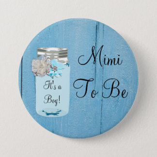 Mimi to be Blue Mason Jar Rustic Shabby Button