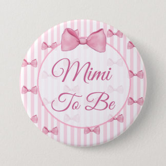 Mimi to be Pink Bow Baby Shower Button