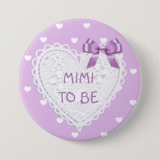 Mimi to be purple hearts Baby Shower Button