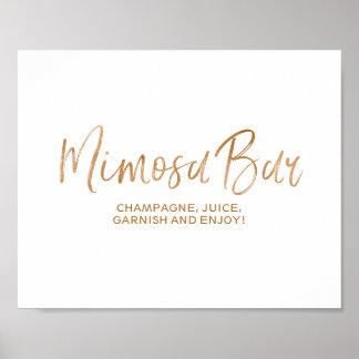 Mimosa Bar 8x10 Stylish Rose Gold Wedding Sign