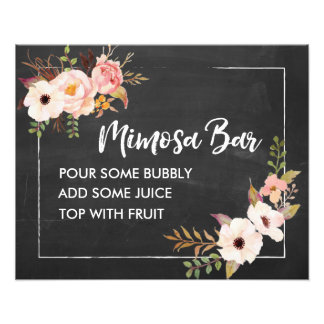 Mimosa Bar Rustic Floral Chalkboard Wedding Sign Photographic Print