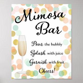 Mimosa Bar Wedding Sign Gold, Pink, Mint Poster