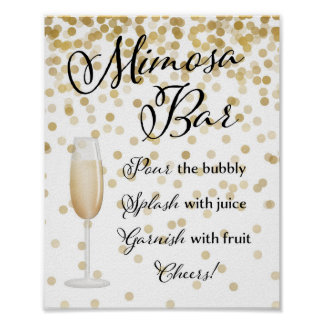 Mimosa Bar Wedding Sign Gold Poster