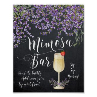 Mimosa Bar Wedding Sign Lilac purple lavender