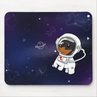 Min Pin Astronaut in Space Mousepad (Black Tan)