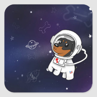 Min Pin Astronaut in Space Sticker