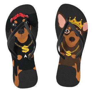 Min Pin BT2MPS Gansta Rapper Dogs Flip Flops