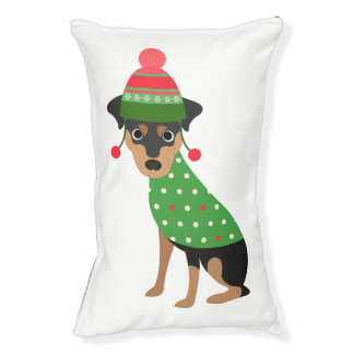 Min Pin Christmas Dog Bed