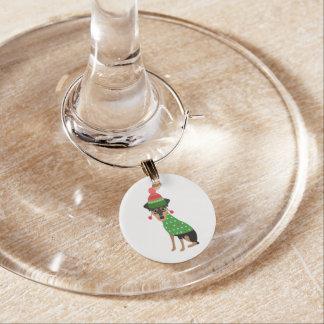 Min Pin Christmas Dog Wine Glass Charm