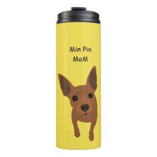 Min Pin Dog Mom Portrait Thermal Tumbler